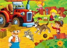 Scène de bande dessinée avec l'agriculteur heureux et ses les animaux ayant l'amusement à la ferme Photo stock