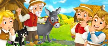Scène de bande dessinée avec la famille d'agriculteurs - belle scène de ferme Photographie stock