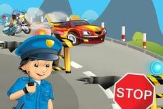 Scène de bande dessinée avec la moto de police conduisant par le policier de ville illustration de vecteur
