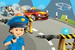 Scène de bande dessinée avec la moto de police conduisant par le policier de ville illustration stock
