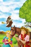 Scène de bande dessinée avec le jeune homme marchant dans un certain jardin - homme bel - belle fille de manga - la sorcière vole illustration de vecteur