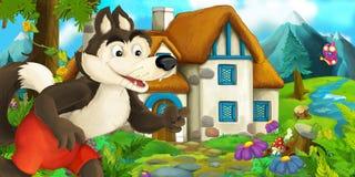 Scène de bande dessinée avec le loup près de la maison de village Images stock