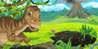 Scène de bande dessinée avec le maiasauria heureux de dinosaure près d'éclater le volcan illustration libre de droits