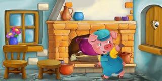Scène de bande dessinée avec le porc dans la cuisine Image libre de droits