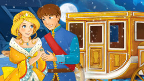 Scène de bande dessinée avec le prince et la princesse Images stock