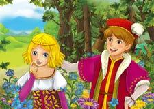 Scène de bande dessinée avec le prince royal mignon et la fille avec du charme de manga sur le pré Photographie stock