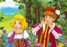 Scène de bande dessinée avec le prince royal mignon et la fille avec du charme de manga sur le pré Photo stock