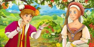Scène de bande dessinée avec le prince royal mignon et la fille avec du charme de manga sur le pré Images libres de droits