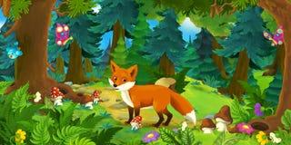 Scène de bande dessinée avec le renard heureux se tenant dans la forêt illustration de vecteur