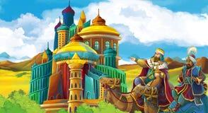 Scène de bande dessinée avec le roi Arabe près d'un certain château magnifique et le magicien illustration de vecteur