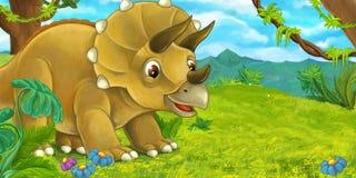Scène de bande dessinée avec le triceratops heureux se tenant et regardant illustration stock