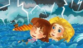 Scène de bande dessinée avec le vieux bateau coulant pendant la tempête avec le prince de délivrance de sirène Photo stock