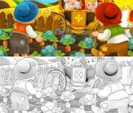 Scène de bande dessinée avec les agriculteurs de visite de paires royales - avec la page de coloration illustration libre de droits