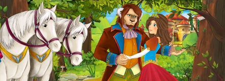 Scène de bande dessinée avec les couples avec du charme royaux mignons dans la forêt près du château - belle fille de manga illustration libre de droits