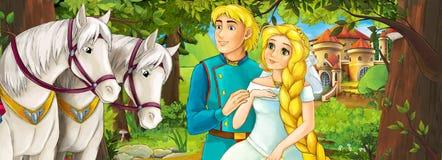 Scène de bande dessinée avec les couples avec du charme royaux mignons sur le pré - belle fille de manga Image stock