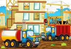 Scène de bande dessinée avec les voitures heureuses d'industrie ayant l'amusement sur le chantier de construction Photos stock