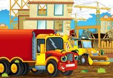 Scène de bande dessinée avec les voitures heureuses d'industrie ayant l'amusement sur le chantier de construction Images stock
