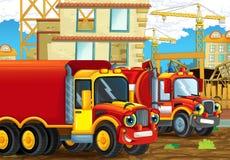 Scène de bande dessinée avec les voitures heureuses d'industrie ayant l'amusement sur le chantier de construction Photos libres de droits