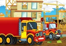 Scène de bande dessinée avec les voitures heureuses d'industrie ayant l'amusement sur le chantier de construction Photographie stock libre de droits