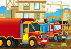 Scène de bande dessinée avec les voitures heureuses d'industrie ayant l'amusement sur le chantier de construction Photo stock