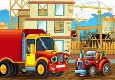 Scène de bande dessinée avec les voitures heureuses d'industrie ayant l'amusement sur le chantier de construction Image stock
