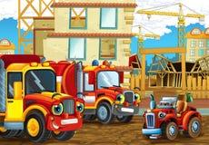 Scène de bande dessinée avec les voitures heureuses d'industrie ayant l'amusement sur le chantier de construction Photo libre de droits
