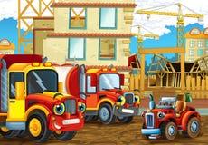 Scène de bande dessinée avec les voitures heureuses d'industrie ayant l'amusement sur le chantier de construction Image libre de droits