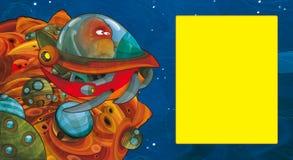 Scène de bande dessinée avec un certain vol étranger semblant drôle dans le véhicule d'UFO près d'une certaine planète - l'espace illustration de vecteur
