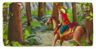 Scène de bande dessinée avec une équitation de cavalier par la forêt à l'inconnu illustration stock