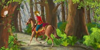 Scène de bande dessinée avec une équitation de cavalier par la forêt à l'inconnu Photo stock