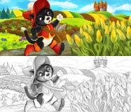 Scène de bande dessinée - chat voyageant au château sur la colline - avec la page de coloration illustration stock