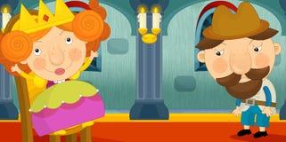 Scène de bande dessinée d'assistance royale - reine et paysan illustration de vecteur
