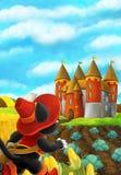 Scène de bande dessinée d'un chat voyageant à un beau château Photos stock