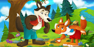 Scène de bande dessinée d'un loup parlant au renard dans la forêt Images libres de droits