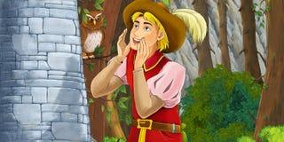 Scène de bande dessinée d'un mur rocheux proche debout de cri de noble Image stock