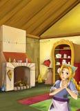 Scène de bande dessinée dans la vieille cuisine traditionnelle - jeune fille sale - faites cuire ou logez l'aide dans elle Image stock