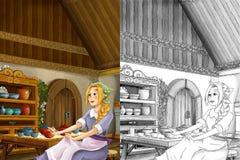 Scène de bande dessinée dans la vieille cuisine traditionnelle - jeune fille sale - faites cuire ou logez l'aide dans elle - bell Photo stock
