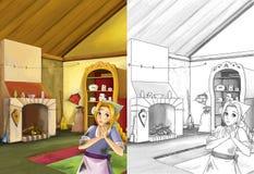 Scène de bande dessinée dans la vieille cuisine traditionnelle - jeune fille sale - faites cuire ou logez l'aide dans elle - bell Photo libre de droits