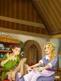 Scène de bande dessinée dans la vieille cuisine traditionnelle - jeune fille travaillant dans la cuisine et parlant au garçon - f illustration de vecteur