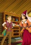 Scène de bande dessinée dans la vieille cuisine traditionnelle - jeune garçon et femme parlant - belle fille de manga Photographie stock