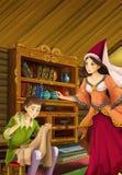Scène de bande dessinée dans la vieille cuisine traditionnelle - jeune garçon et femme parlant - belle fille de manga Images stock