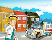 Scène de bande dessinée dans la ville avec l'ambulance heureuse de voiture de docteur illustration de vecteur