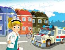 Scène de bande dessinée dans la ville avec l'ambulance heureuse de voiture de docteur illustration libre de droits