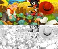 Scène de bande dessinée de chat et d'agriculteurs sur le champ de ferme - avec la page de coloration illustration stock