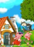 Scène de bande dessinée de deux porcs courants à la maison de leur frère Photos stock