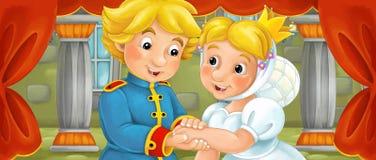 Scène de bande dessinée des ménages mariés dans la chambre de château Images stock