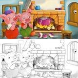 Scène de bande dessinée des porcs effrayés à l'intérieur de la vieille maison - avec la page de coloration Images libres de droits