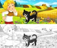Scène de bande dessinée - paysan et un chat sur le pré ayant l'amusement - avec la page de coloration illustration libre de droits