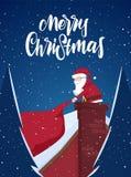 Scène de bande dessinée Santa Claus tire un sac lourd complètement des cadeaux dans la cheminée et le lettrage manuscrit du Joyeu illustration de vecteur