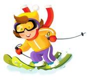 Scène de bande dessinée - sur le ski ayant l'amusement Images libres de droits